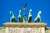 Brandenburg Gate (Brandenburger Tor), famous landmark in Berlin, Germany,rebuilt in the late 18th ce