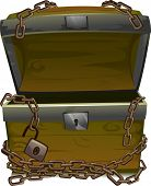 Illustration of an Open Treasure Chest Wrapped by Chains