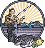 Vector illustration of a fisherman, done in retro woodcut style.