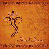 Indian festival of lights, Shubh Diwali (Happy Diwali) greeting card with creative illustration of h