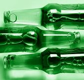 green bottles close up