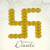 stock photo of swastik  - Indian festival Happy Diwali concept with swastik symbol made by flowers on rays background - JPG