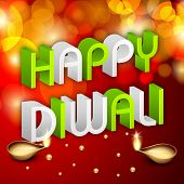 Indian festival of lights, Happy Diwali greeting card with 3D text Happy Diwali on shiny red background with illuminated oil lit lamps.