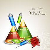 Indian festival of lights, Happy Diwali greeting card with colorful firecrackers on abstract background.