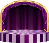 vector ellipse circus stage with purple curtain