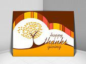 Happy Thanksgiving vintage greeting card with red autumn maple tree design.