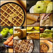 Set Collage Baking Apple Pie Ingredients