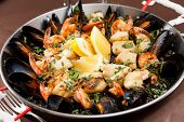 picture of saffron  - seafood paella in the fry pan - JPG