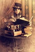 stock photo of gothic female  - Portrait of a beautiful steampunk woman over vintage background - JPG