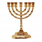 stock photo of menorah  - golden menorah isolated on a white background - JPG