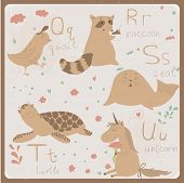 Cute zoo alphabet in vector . Q, r, s, t, u letters.