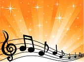 stock photo of christmas song  - Star burst background with musical notes silhouetted - JPG