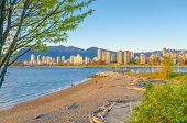 Sea walk at the Kitsilano Beach Park at Downtown of Vancouver, Canada.