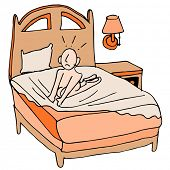 An image of a person using tightly fitted sheets on a bed.