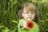 Little Girl With Red Flower