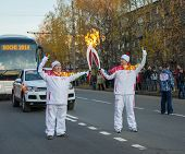 Russia, Ivanovo, October 17, 2013. The Olympic torch relay 17 August 2013 in Ivanovo