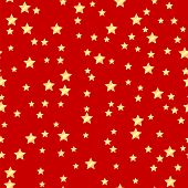 Seamless Pattern Of Gold Stars On A Red Background.holiday Background.vector