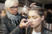 ZAGREB, CROATIA - OCTOBER 17: Fashion model prepares in backstage for Couture show by Marina Design on 'Fashion.hr' show, on October 17, 2012 in Zagreb, Croatia.