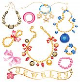 collection of gold jewelery with precious stones (vector illustration)