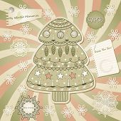 Vector  Greeting Card With Fir Tree, Scrapbook Style