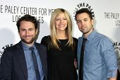 LOS ANGELES - OCT 16:  Charlie Day, Kaitlin Olson, Rob McElhenny at the 2013 Paley Center For Media