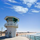 Huntington beach main lifeguard pier tower Surf City California USA