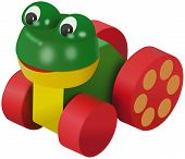 Colored frog toy on wheels