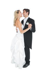 image of waltzing  - Happy married couple dancing viennese waltz on white background - JPG