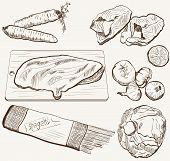 vector ingredients products sketch set