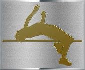 Gold On Silver Highjump Sport Emblem