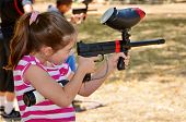 stock photo of paintball  - Target practice with a paintball gun  - JPG