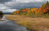 stock photo of brighten  - Photograph of a northwoods lake amidst crisp autumn colors brightened by a splash of sunshine while stormy clouds move in - JPG