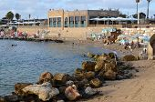 Caesarea Harbor And The Mediterranean