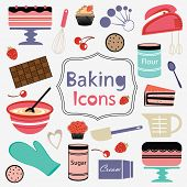 picture of cake-mixer  - Colorful collection of baking items - JPG