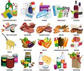 Set of sixty four supermarket vector icons