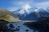 stock photo of hookers  - Hooker River in Aoraki national park New Zealand - JPG