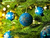 stock photo of weihnacht  - Bauble Ornament in a real Christmas tree in bright color - JPG