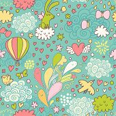 Cute air seamless pattern with hot air balloon, birds, butterflies, hearts, rabbit and clouds