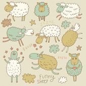 Cute cartoon sheep in vector. Childish set in gentle colors