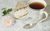Ricotta And Pear Cake With Cup Of Tea