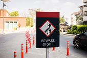 Beware The Right Traffic Sign On A Road