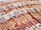 One Million Russian rubles banknotes surface top view background