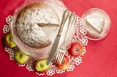 Applesauce Raisin Rum Cake For Christmas Table, Blurred Background