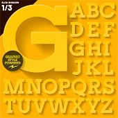 Modern flat alphabet for infographics with long ambient shadow. Slab  Yellow Upper case