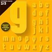 Modern flat alphabet for infographics with long ambient shadow. Condensed Yellow Small case