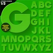 Modern flat alphabet for infographics with long ambient shadow. Bold Green