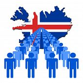 Lines of people with Iceland map flag vector illustration