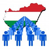 Lines of people with Hungary map flag vector illustration