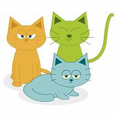 Vector Cute Cartoon Cats Isolated On White Background