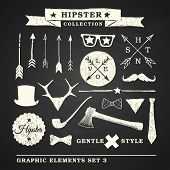 image of ax  - Hipster graphic set with glasses mustache labels and other objects on chalkboard background - JPG